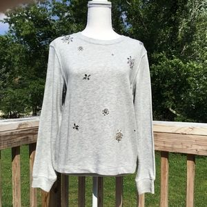 Faux Pearl and Rhinestone Sweater